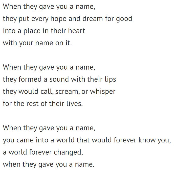Poem - when they gave you a name