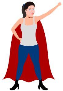 Super Mom wearing a cape